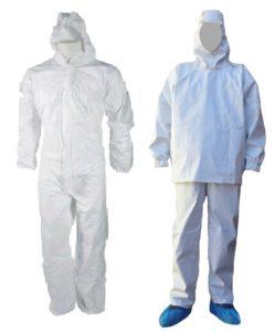 костюмы биологической защиты (костюмы дезинфекторов), которые позволяют использовать около 500 раз в различных вариантах: в виде комбинезона или куртки с брюками (на улице)