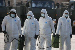 Военнослужащие войск РХБ защиты ВС РК готовы к дезинфекции